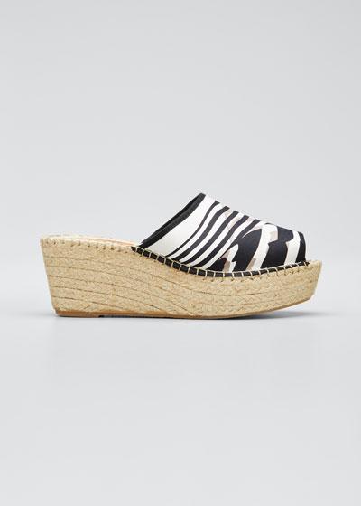 Zandra Stripe-Print Wedge Espadrille Sandals