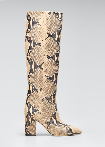 Python-Print Leather Boots