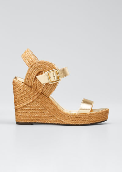 Delphi Metallic Leather Espadrille Wedge Sandals