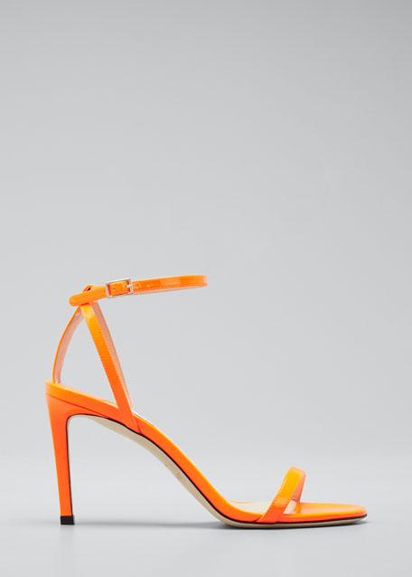 85mm Patent Leather Stiletto Sandals
