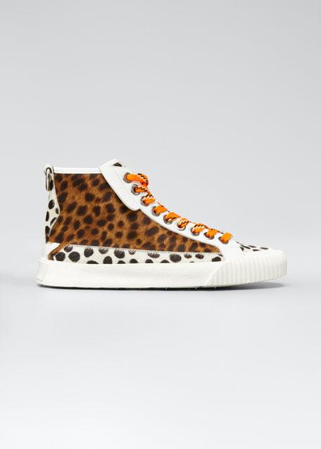 Impala Animal-Print Fur High-Top Sneakers