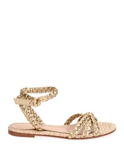 Raffia & Braided Leather Flat Sandals