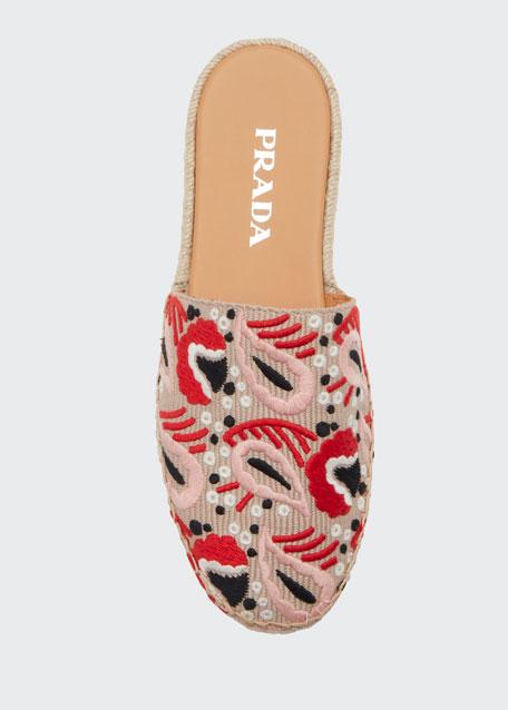 Embroidered Flat Slide Espadrilles