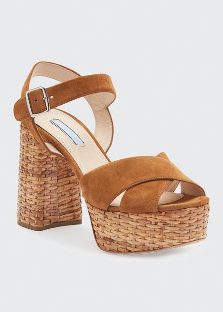 Basket-Heel Suede Platform Crisscross Sandals