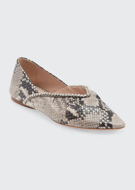 5mm Python Printed Pointed-Toe Ballet Flats
