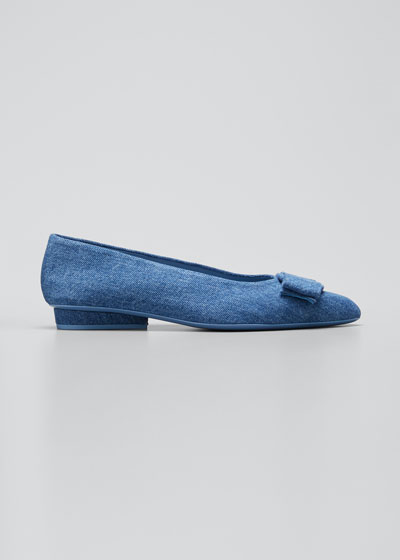 Viva Denim Bow Pointed-Toe Ballet Flats