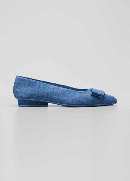 Viva Denim Bow Pointed-Toe Ballet Flats