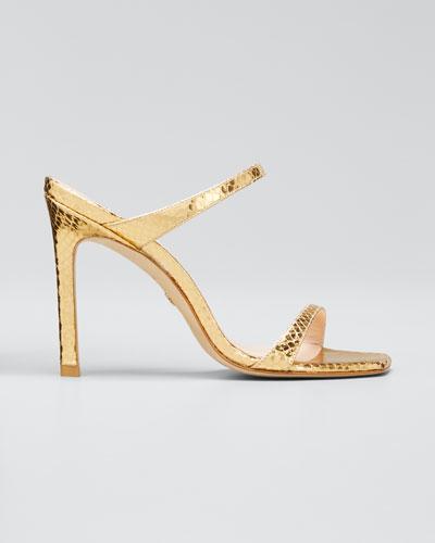 Aleena Metallic Snake-Print Slide Sandals