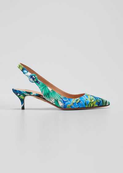 Tropical Kitten-Heel Sandals