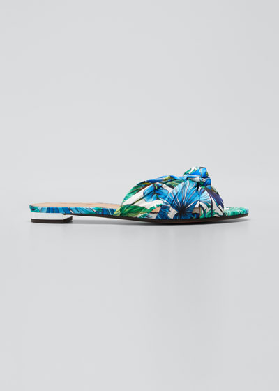 Knotted Tropical-Print Slide Sandals