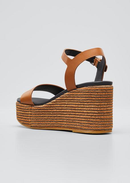 Leather Monili Ankle-Strap Espadrilles