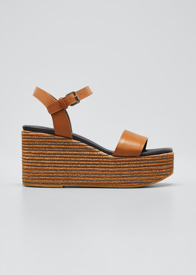 Leather Monili Ankle-Strap Espadrilles
