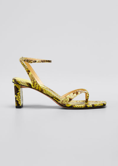 Nelly Python Ankle-Strap Sandals