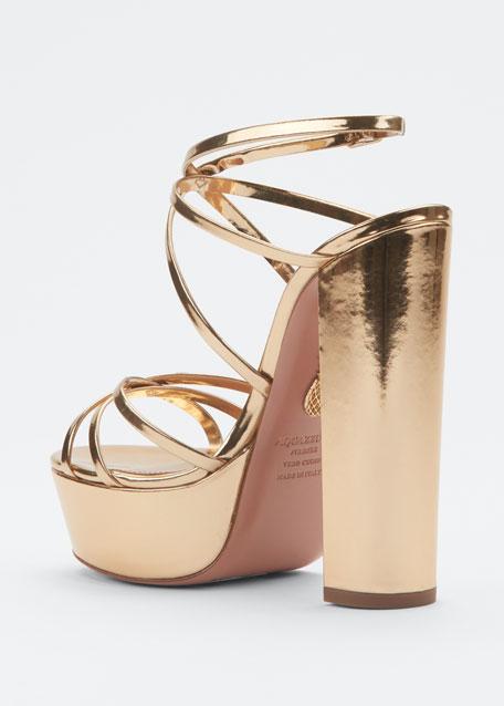 Gin 140mm Metallic Leather Platform Sandals