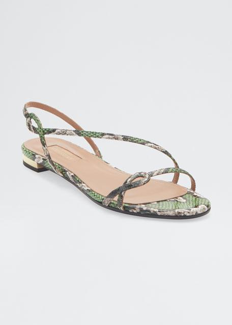 Serpentine Flat Snakeskin Slingback Sandals