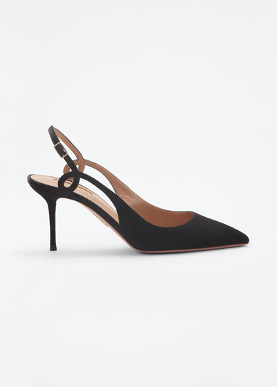 Serpentine 75mm Suede Slingback Pumps