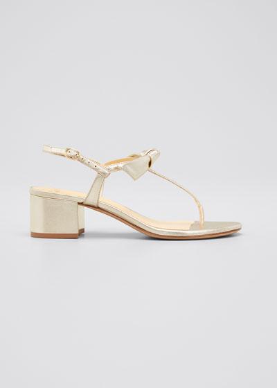 Clarita Metallic T-Strap Block-Heel Sandals