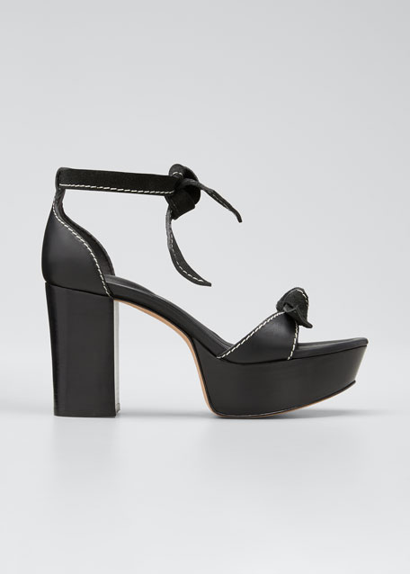 Image 1 of 1: Pamella Mixed Leather Knotted Platform Sandals