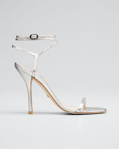 Merinda Metallic Leather Ankle-Wrap Sandals