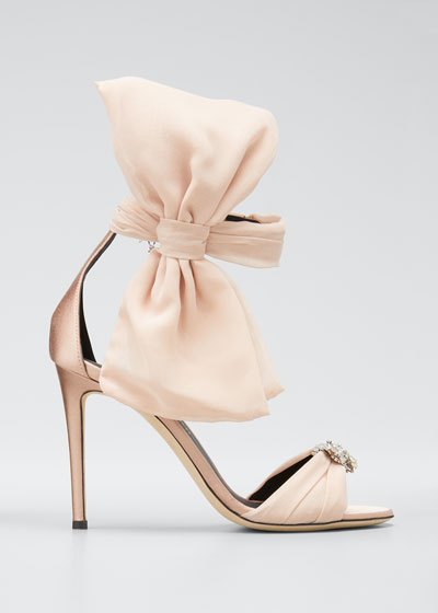 105mm Sandals with Ankle Bow