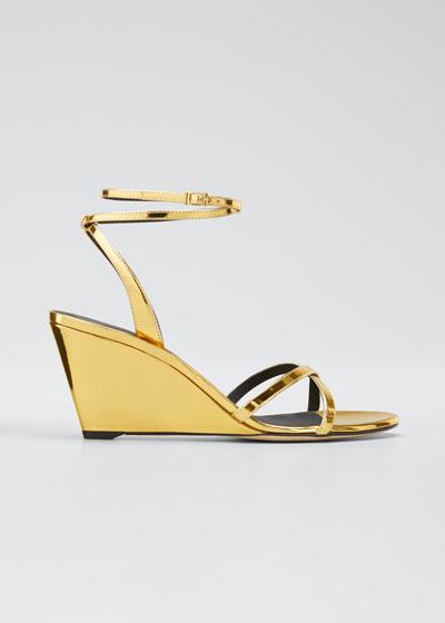70mm Metallic Wedge Sandals
