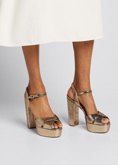 Soliesse 130mm Metallic Velvet Platform Sandals