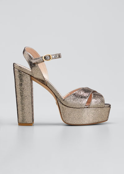 Soliesse 130mm Metallic Velvet Platform Sandals