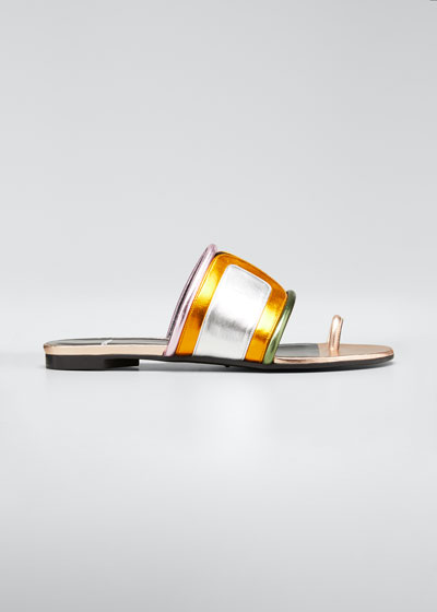 Targ Metallic Colorblock Slide Sandals