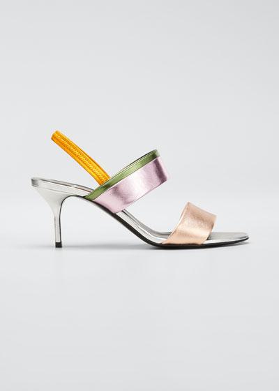 Alpha Par Metallic Slingback Sandals
