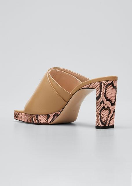 Isa Platform Square-Toe Slide Sandals