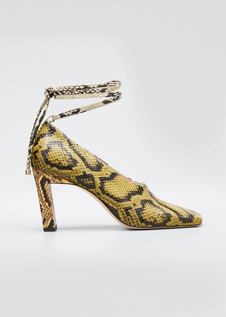 85mm Python-Print Ankle Tie Pumps
