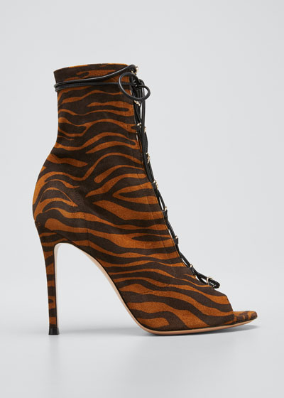 105mm Zebra Suede Lace-Up Stiletto Booties