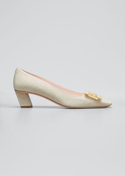 Belle Linen Buckle Pumps