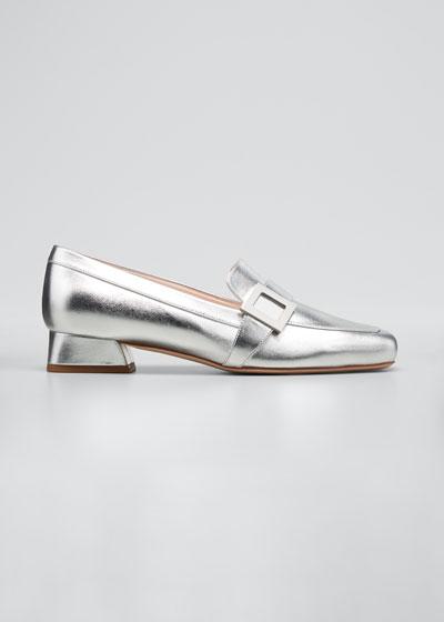 Metallic Calfskin Buckle Loafers