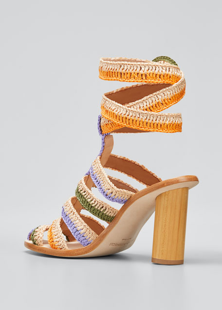 Katya Cage Ankle-Wrap Sandals