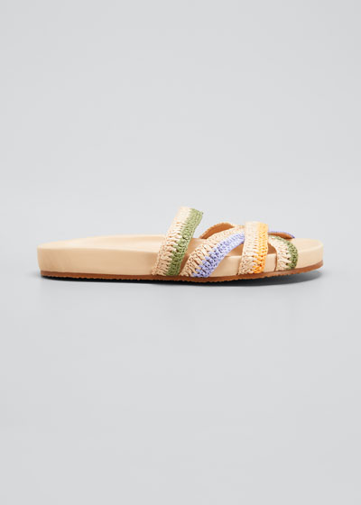 Makena Multicolored Strappy Flat Slide Sandals