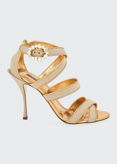 105mm Glitter Strappy Crystal-Buckle Sandals
