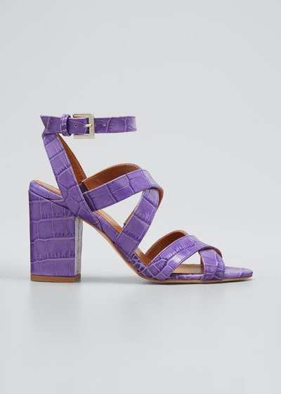80mm Moc Croco Strappy Sandals