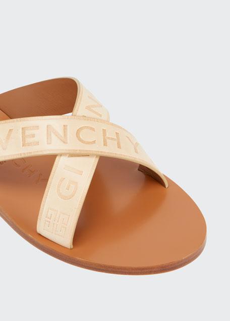 Logo Web Crisscross Flat Sandals