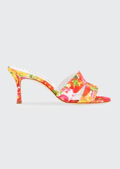 Iacopo Flower-Print Slide Sandals
