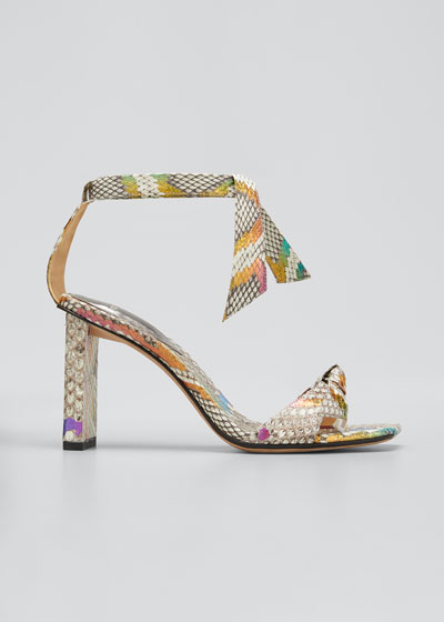 Clarita Multicolored Python Ankle-Wrap Sandals