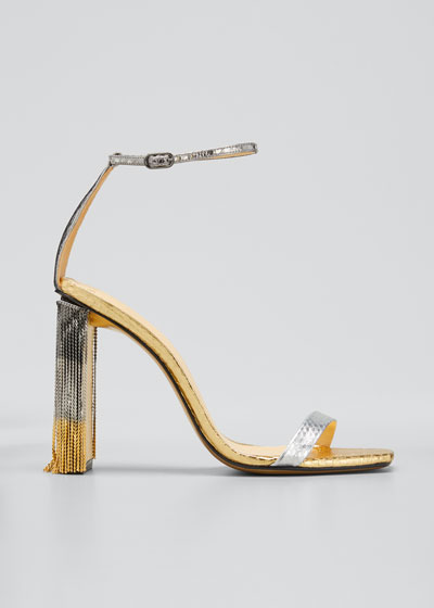 Dazzle Tricolor Watersnake Chain Fringe Sandals