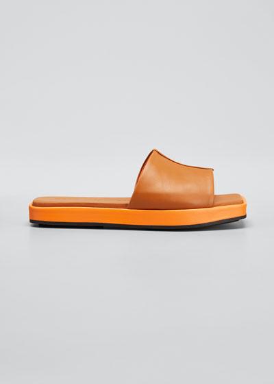 Leather Peep-Toe Flatform Sandals