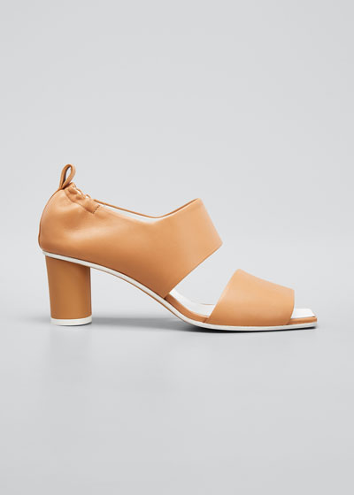 Micol Soft Leather Peep-Toe Sandals  Brown