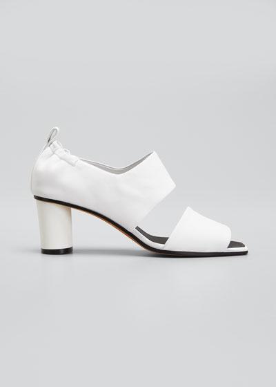 Micol Soft Leather Peep-Toe Sandals  White