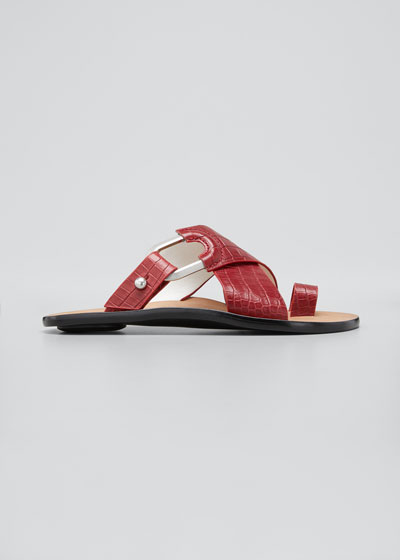 August Mock-Croc Slide Sandals