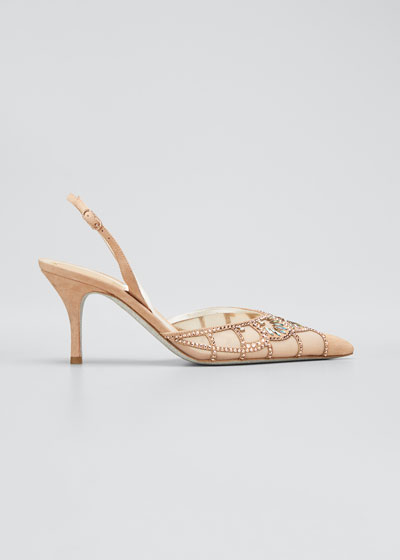 Deco Beaded Cocktail Slingback Pumps