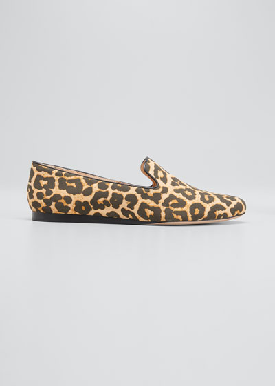 Griffin Leopard-Print Canvas Loafers