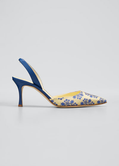 Carolyne Embroidered Silk Halter Pumps