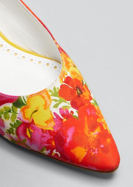 Allura Falt Floral Slingback Flat Sandals